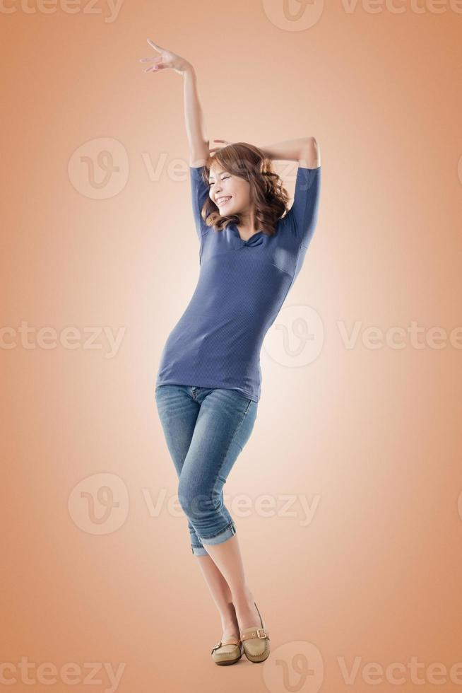 Excited Asian young girl photo