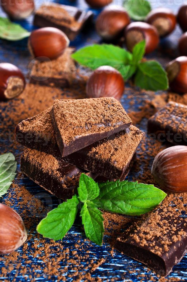 Chocolate, nuts and mint photo