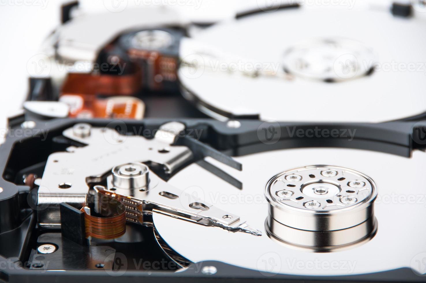 Two hard disk drives closeup photo