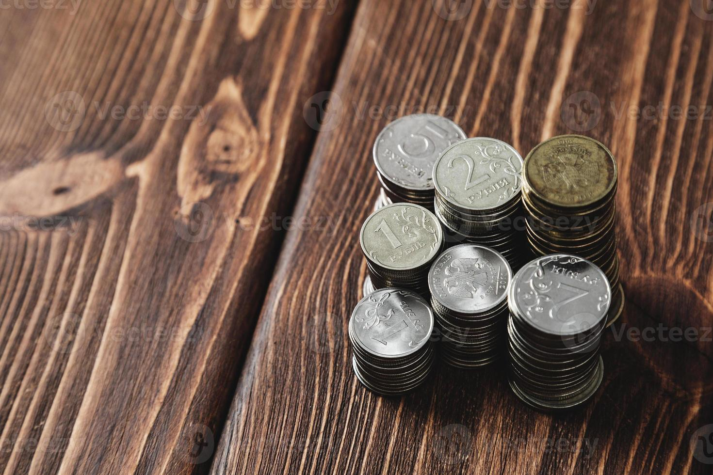 Coins on the desk photo