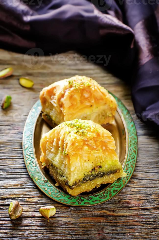 baklava with pistachio. turkish traditional delight photo
