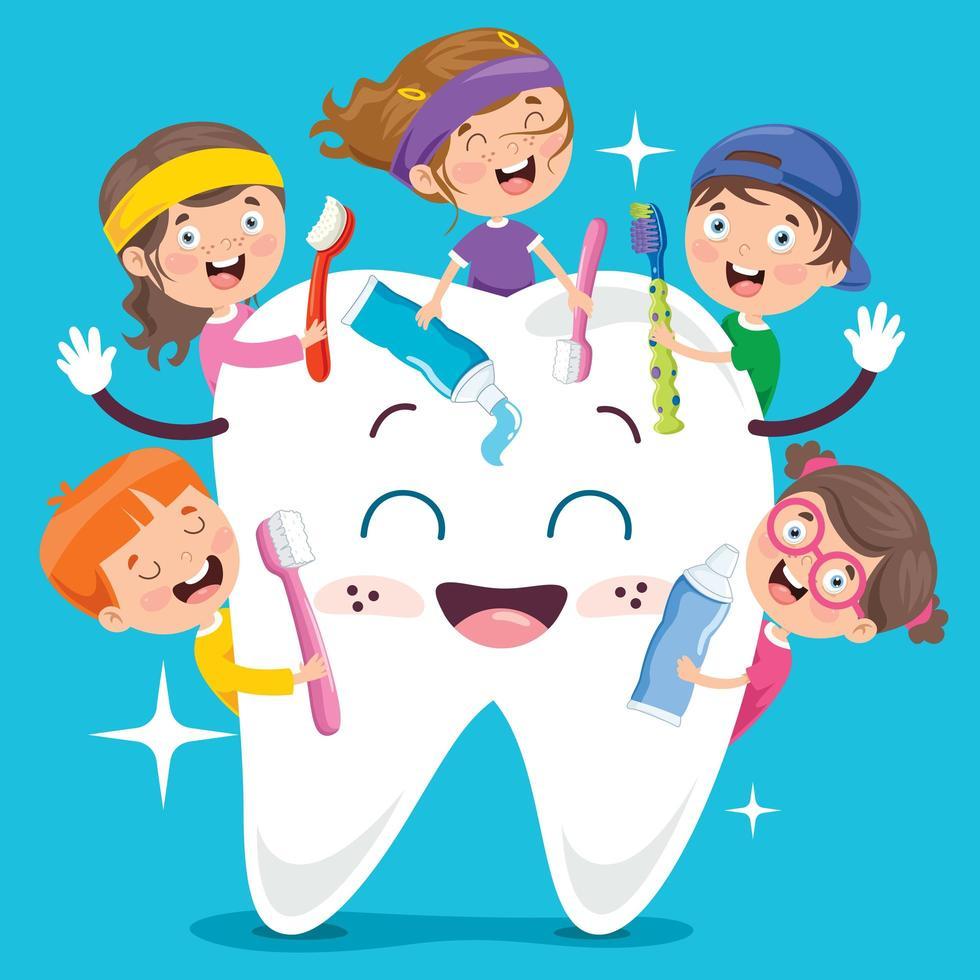 concept de brossage des dents avec personnage de dessin animé vecteur