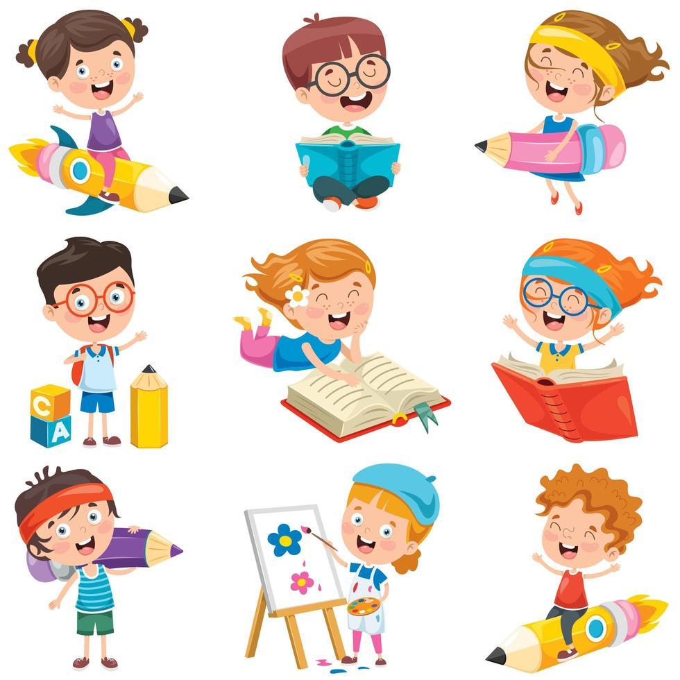 Kids Doing Fun Activities Set vector