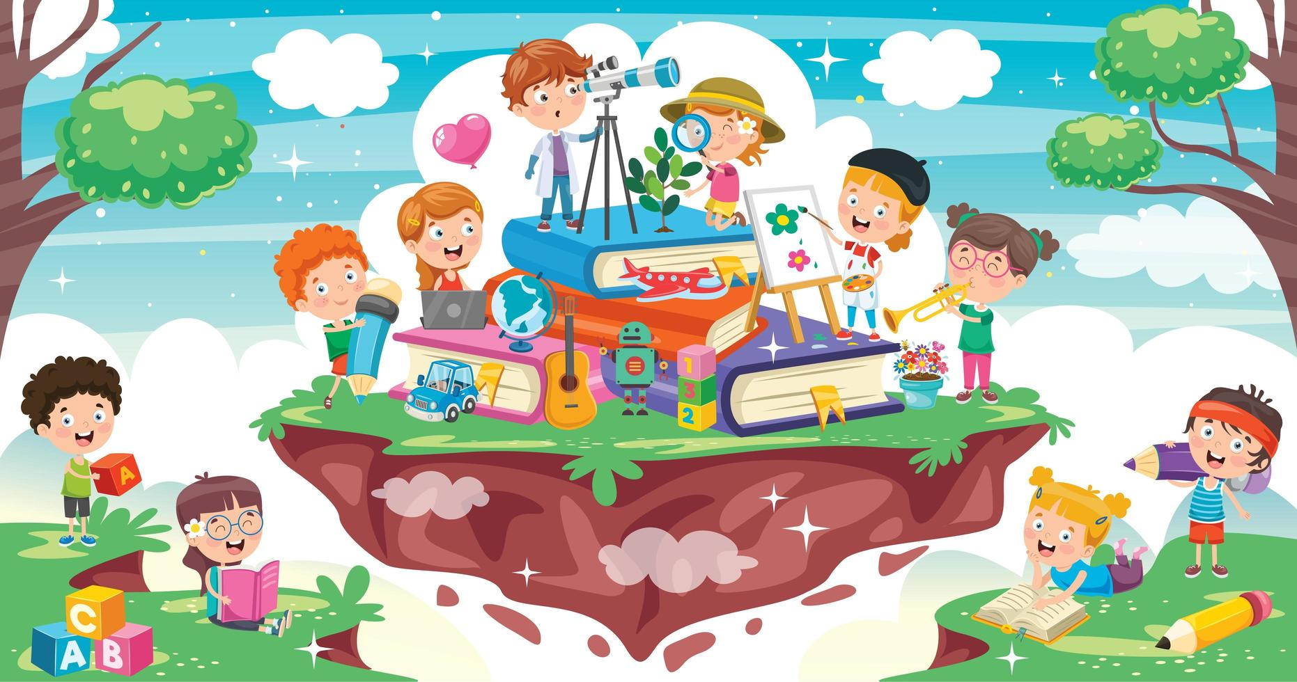 Cartoon Children on Stack of Books vector