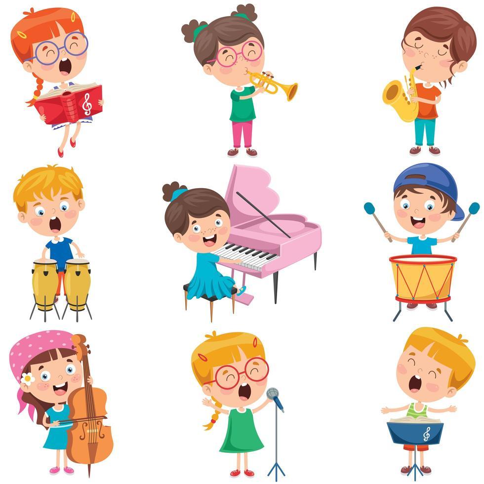 bambini piccoli che suonano vari strumenti vettore