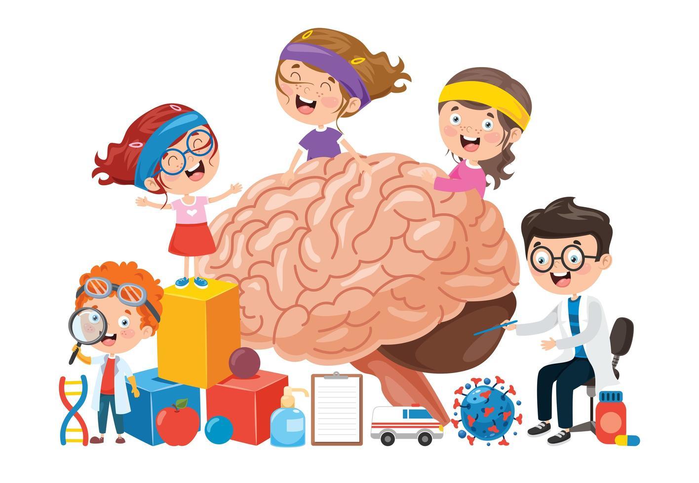 concetto di cartone animato del cervello umano e dei bambini vettore