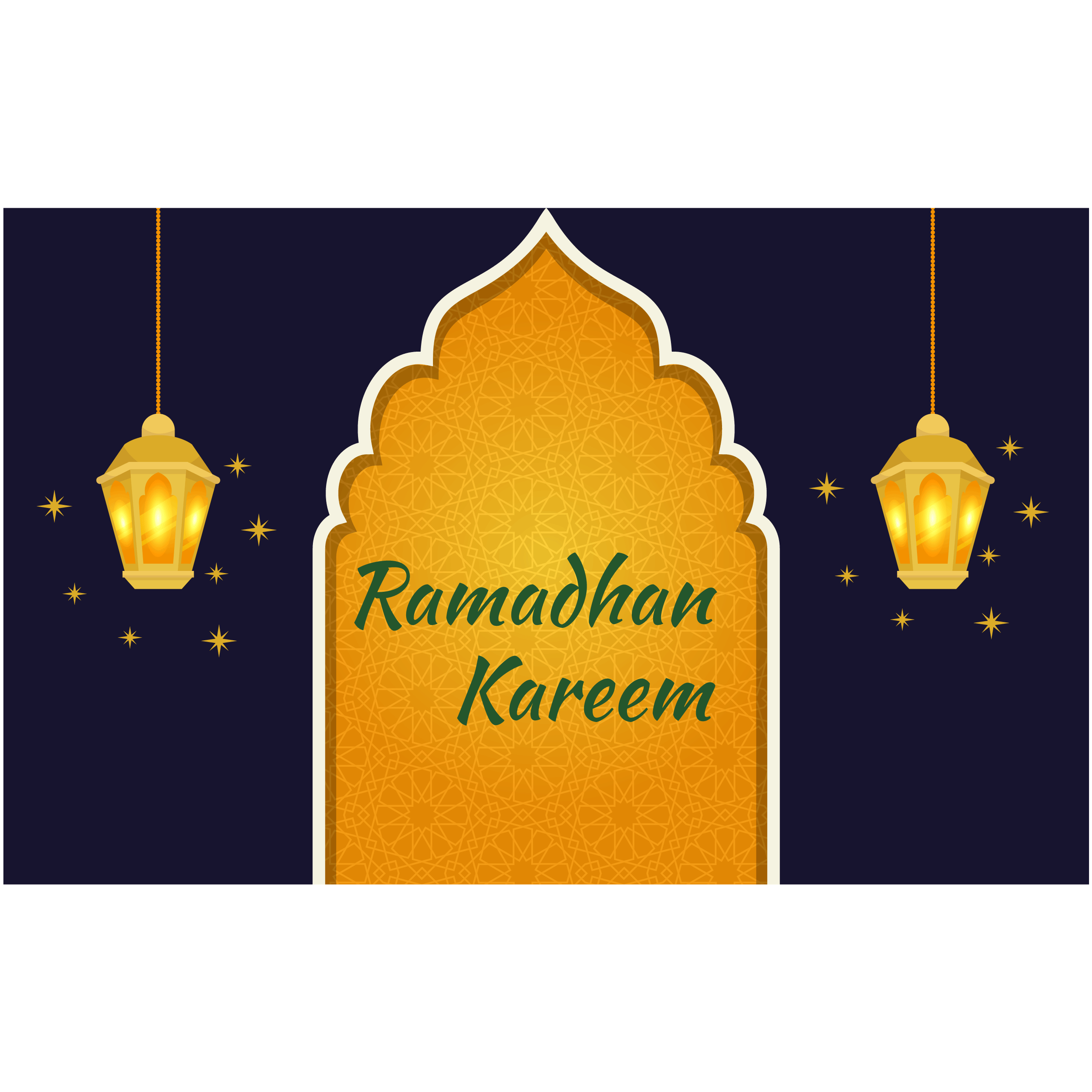 Blue Ramadan Greeting Card With Glowing Lanterns Download Free Vectors Clipart Graphics Vector Art