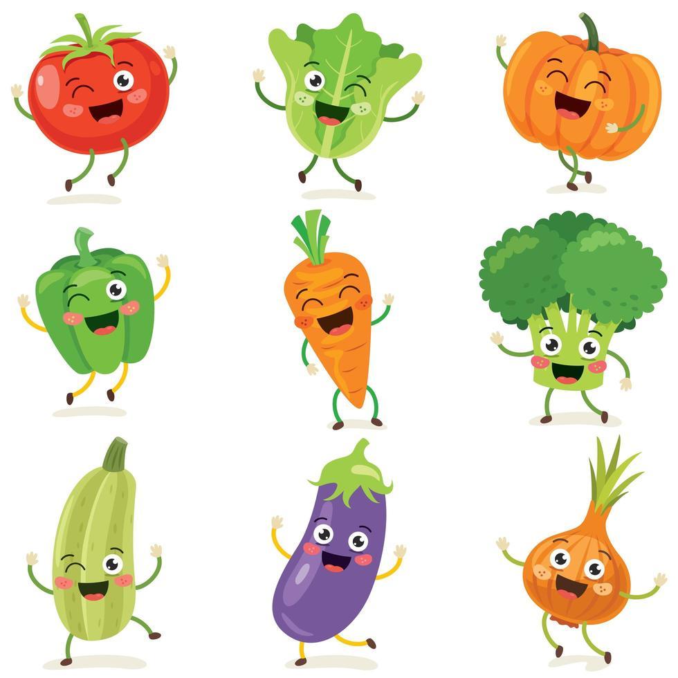 ensemble de légumes de dessin animé heureux vecteur