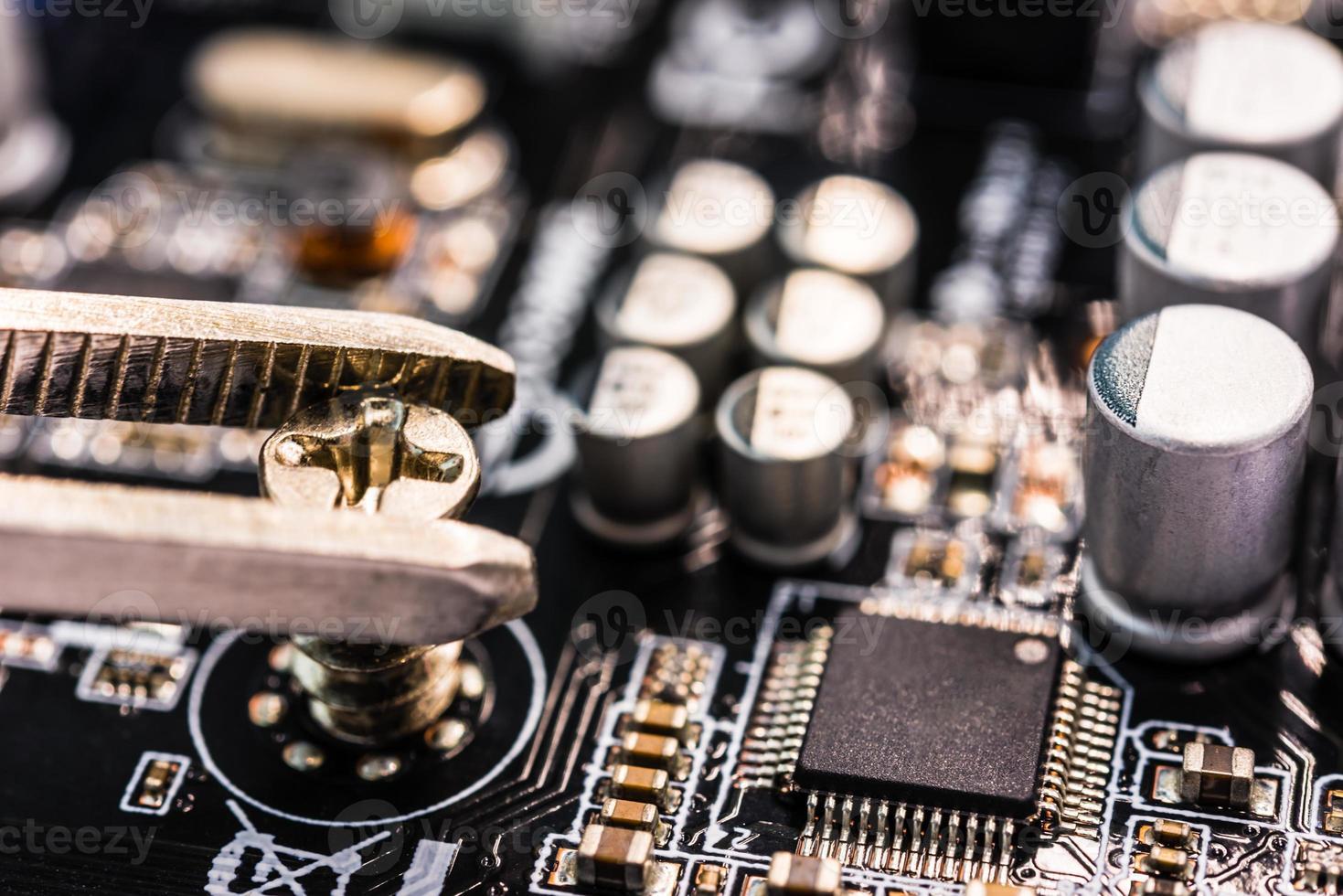 Computer repair, installation motherboard photo
