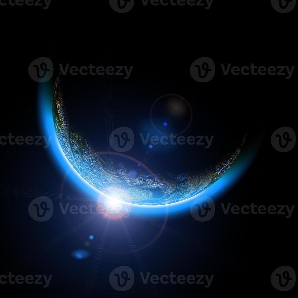 Earth like planet. Space sunrise photo