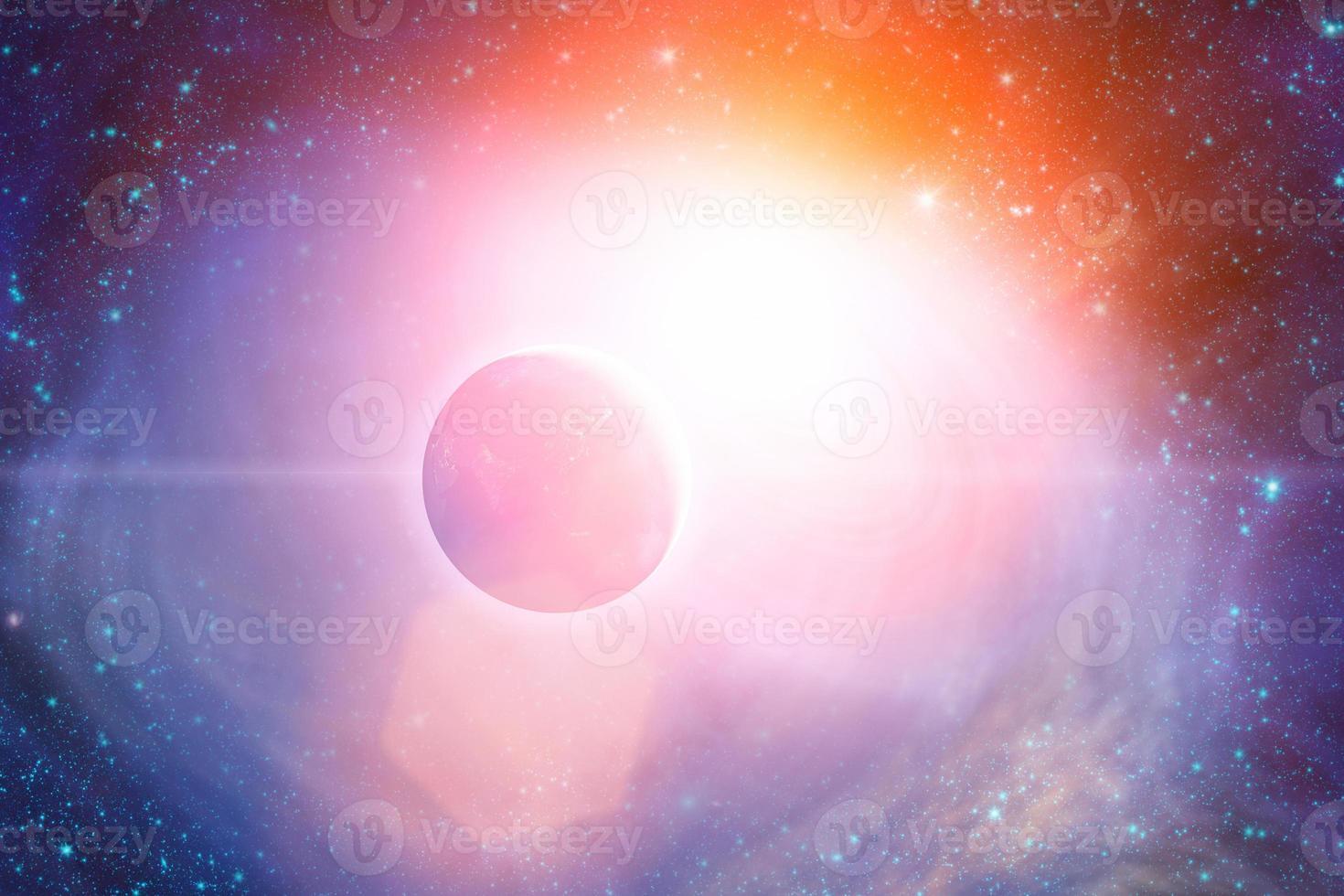 planeta en un sistema estelar exterior foto
