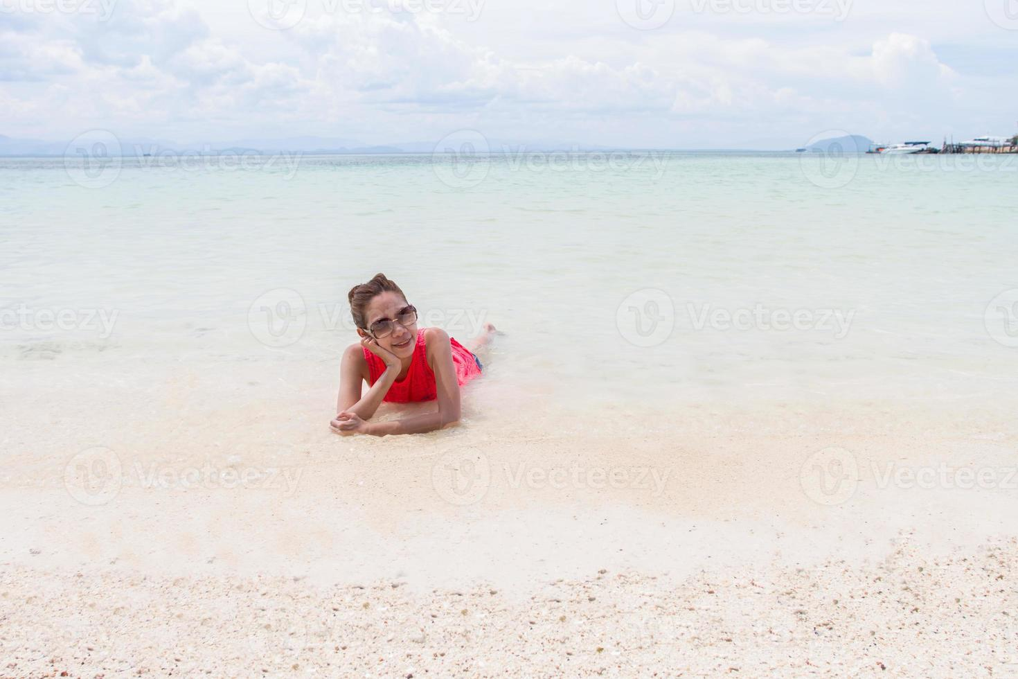 Beautiful Girl With  Travel and Vacation on The Beach enjoying photo