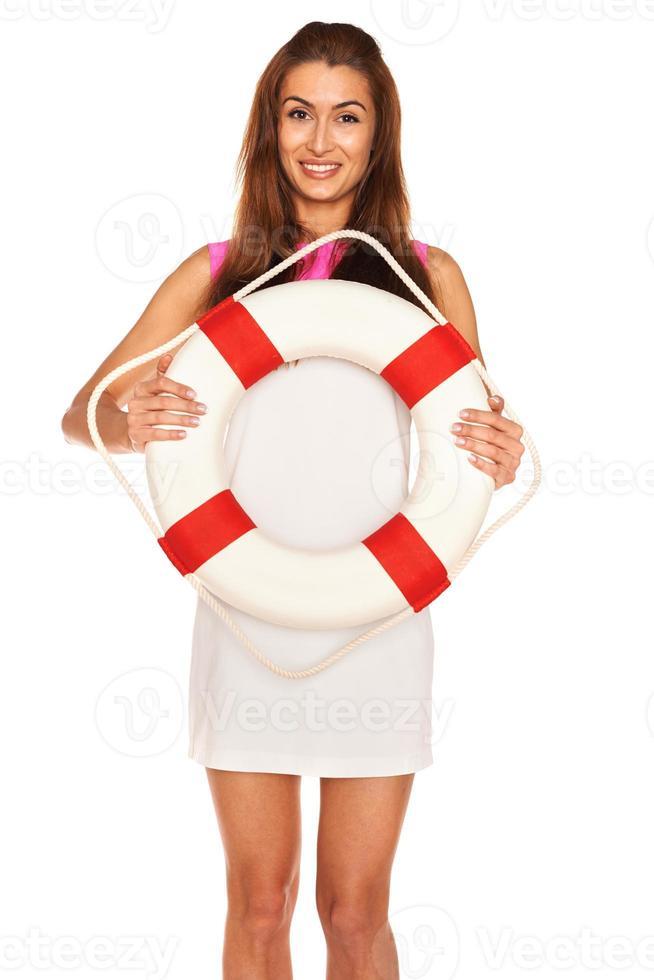 Girl with lifebuoy photo