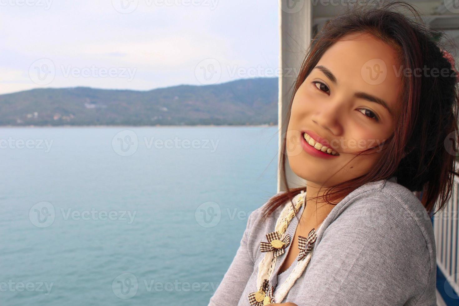 young beautiful asian girl romantic teenage model enjoy with tra photo