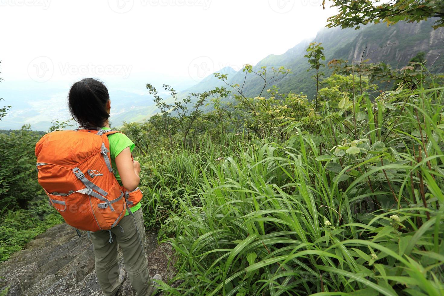 joven excursionista disfrutar del hermoso paisaje en el pico de la montaña foto
