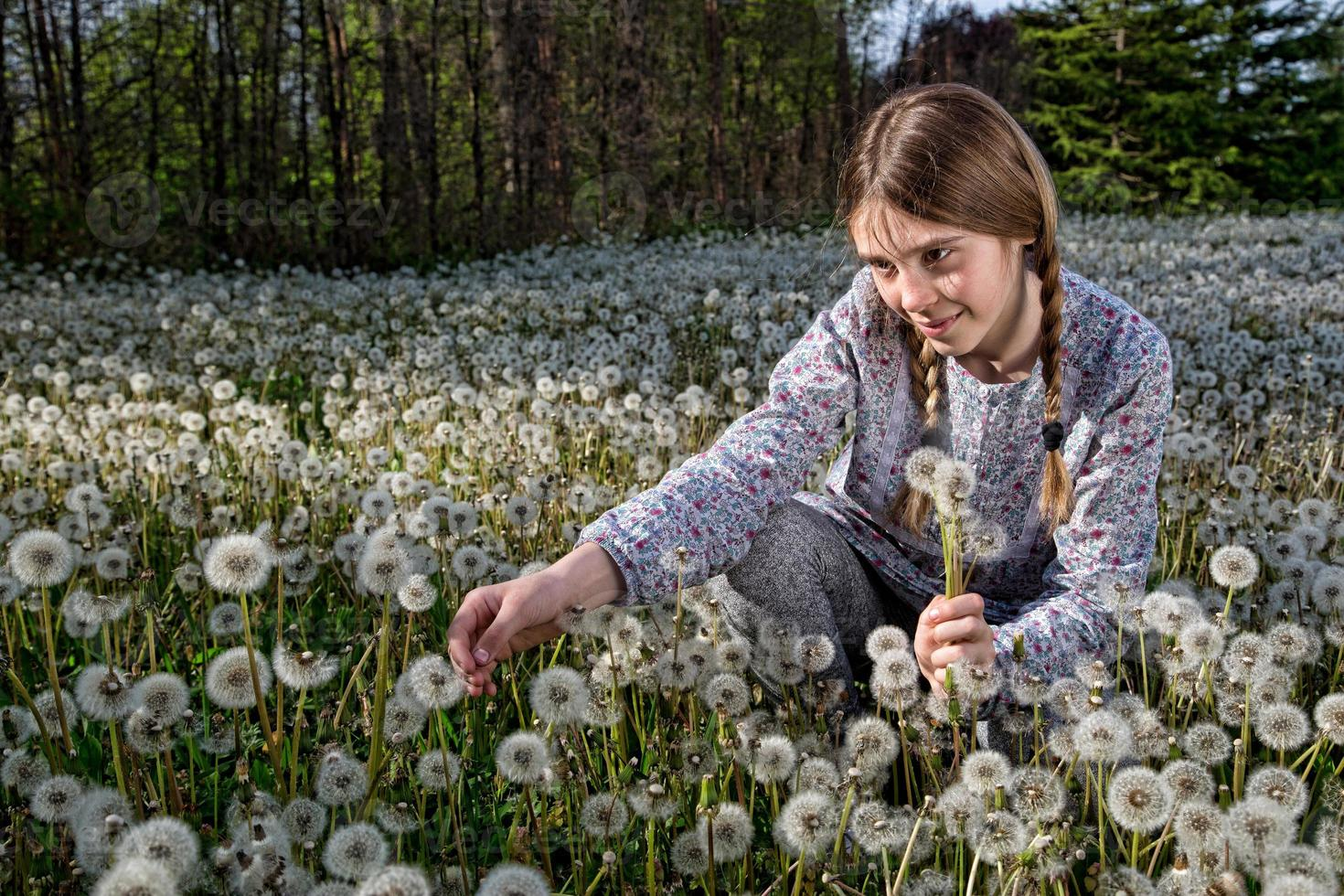 Lovely Girl With Dandelions Enjoying the Beauty of Spring Nature photo