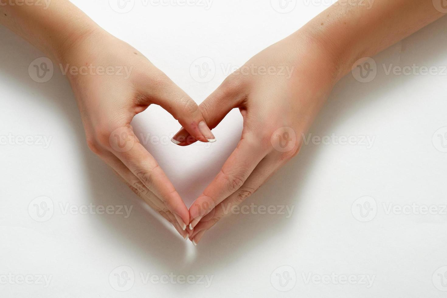 Woman hands formming a heart photo