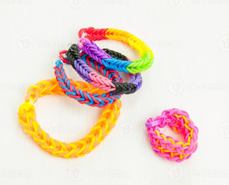 multicoloured elastic loom band bracelets photo