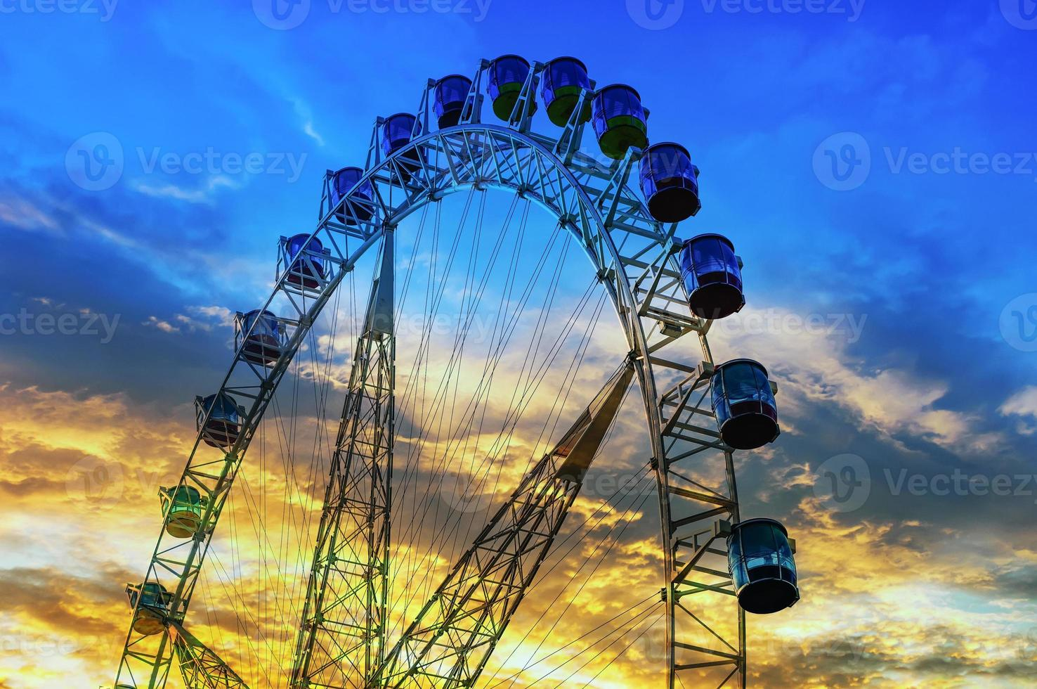 ferris wheel in sunset photo