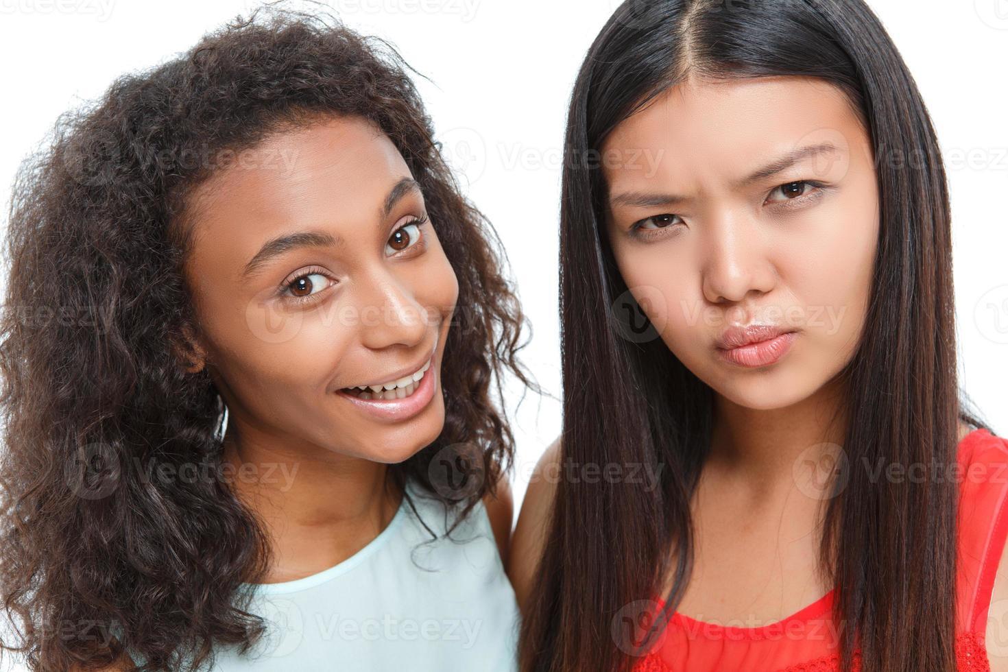 Positive friends making faces photo