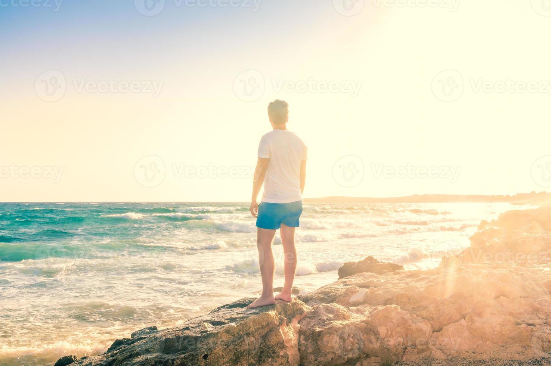 Free happy man enjoying nature photo