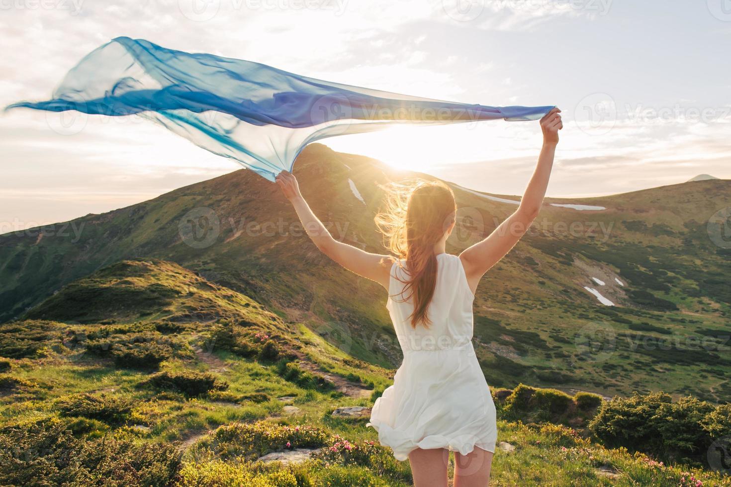 Beautiful woman feel freedom and enjoying the nature photo