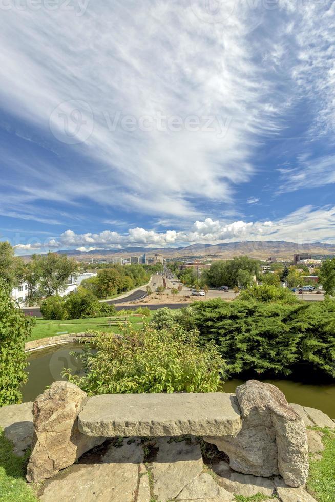 Stone bench view of Boise City Idaho photo