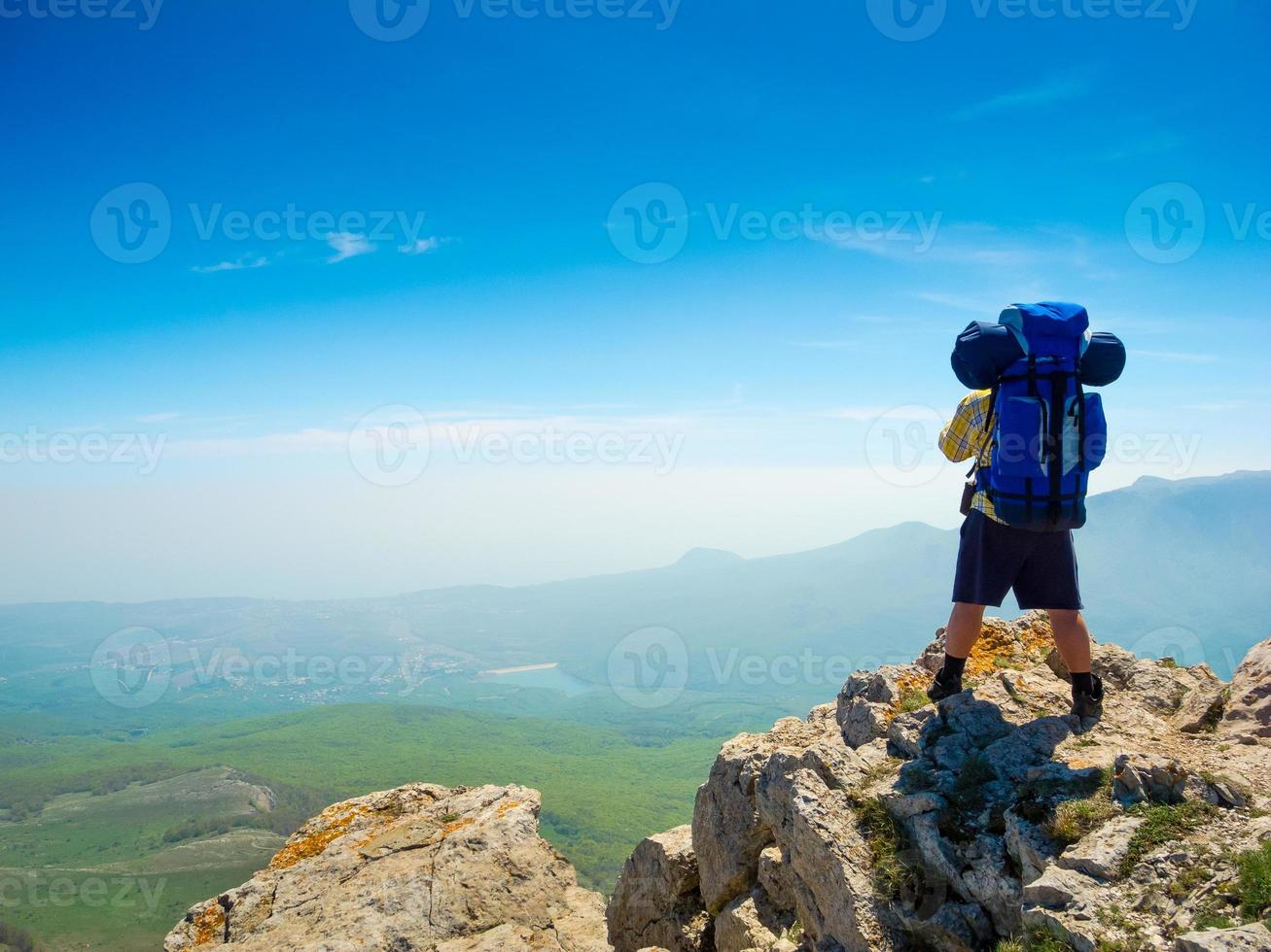 Backpacker enjoys the view photo