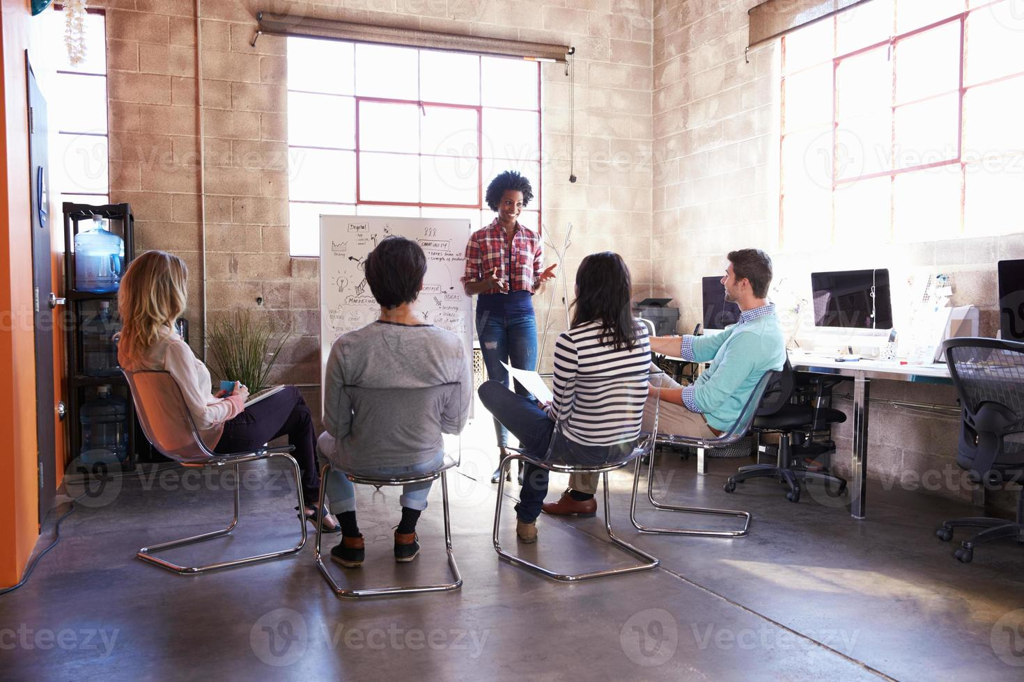 Group Of Designers Having Brainstorming Session In Office photo
