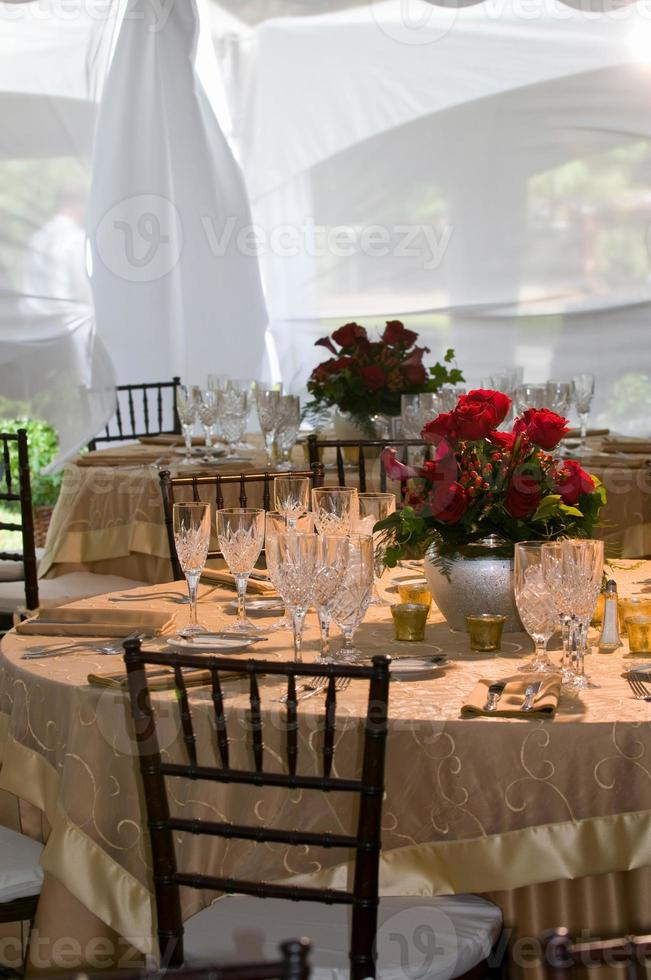 Elegant wedding reception dinner banquet party table settings photo