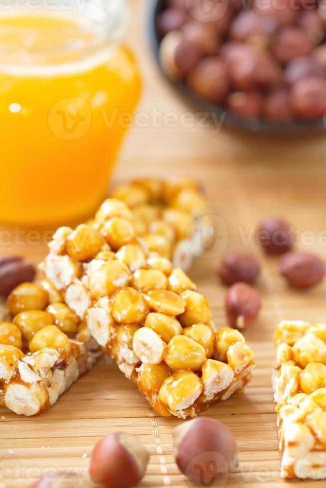 Sweet bars with filbert and honey photo