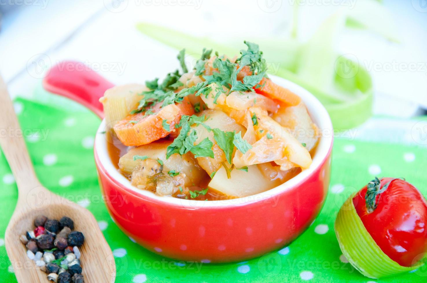 Delicious lentil and vegetable stew photo