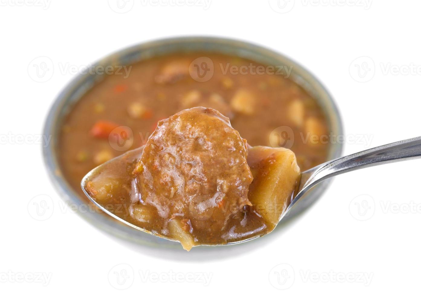Meatball and potatoes on a spoon with meal in background photo