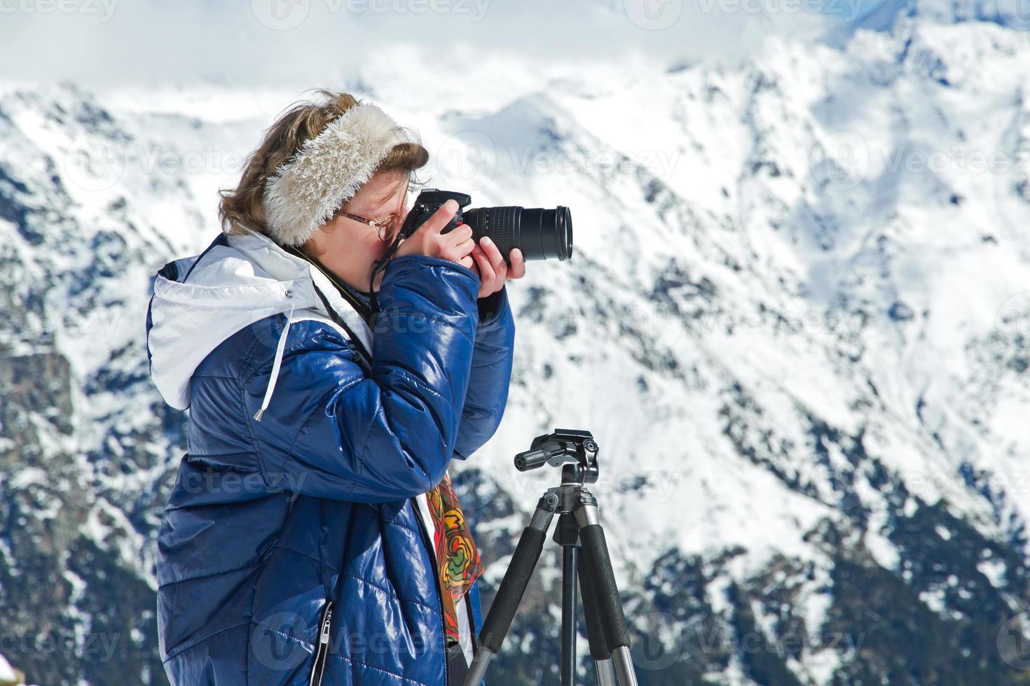 Girl photographer mountains photo