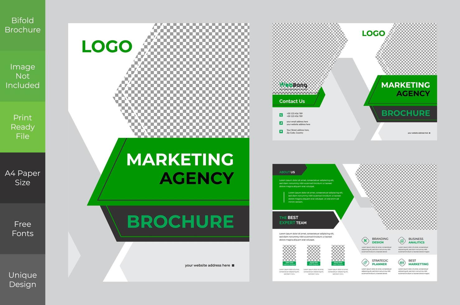 diseño de folleto bi-fold verde marketing corporativo audaz vector