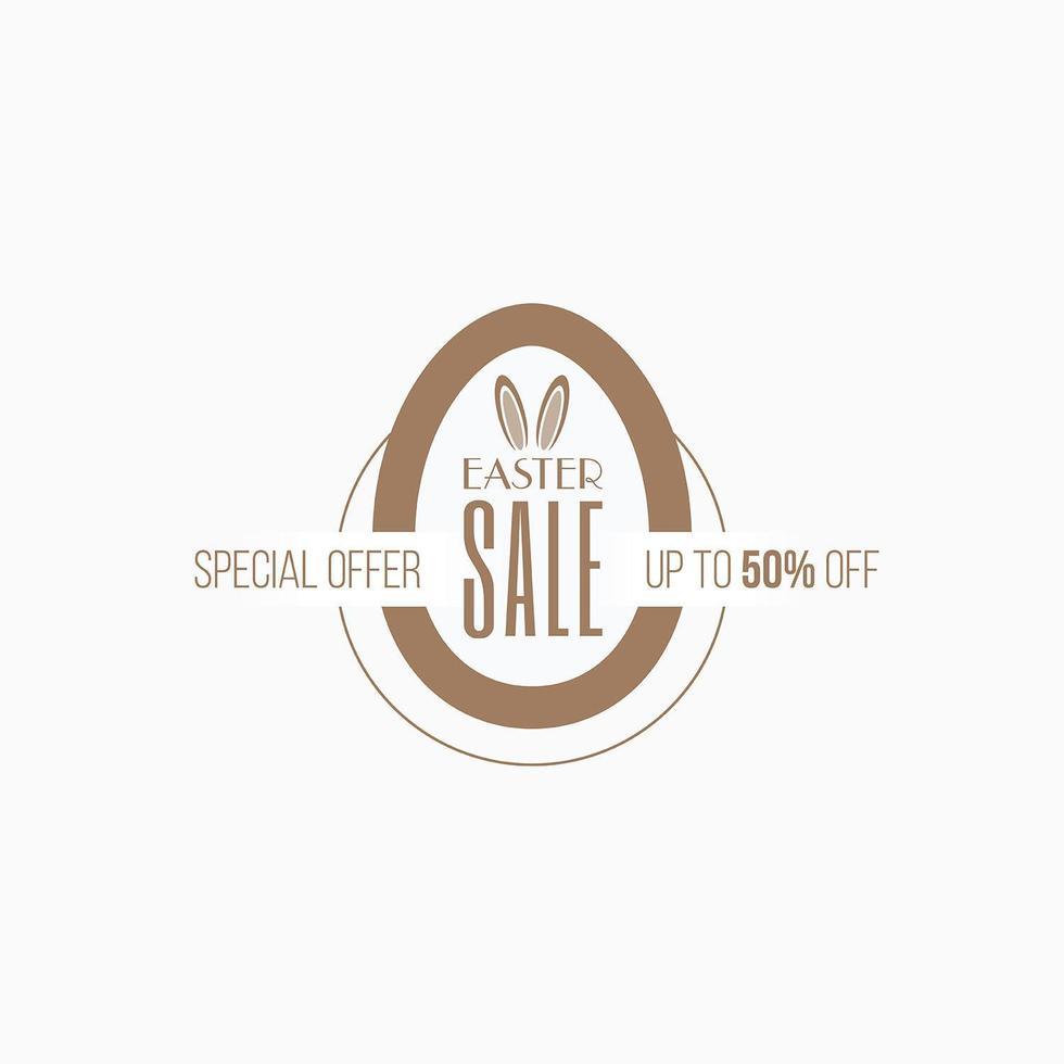 banner de etiqueta de venta de pascua en forma de huevo de color dorado vector
