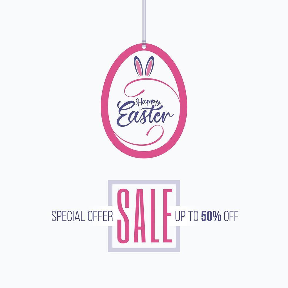 Colgante en forma de huevo pascua venta etiqueta banner vector