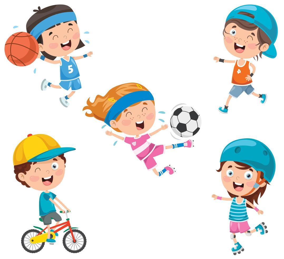 Conjunto de niños felices de dibujos animados jugando deportes vector