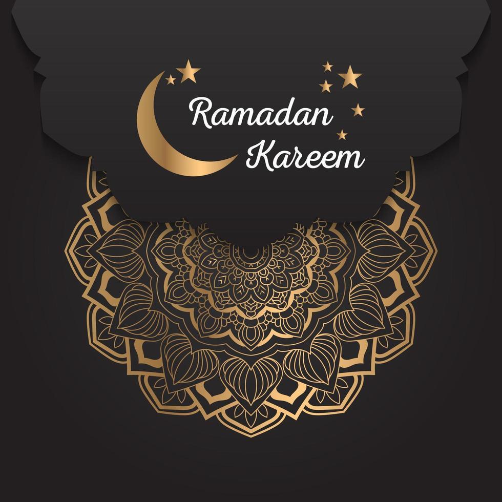 Ramadan Kareem Golden Mandala Antecedentes vector