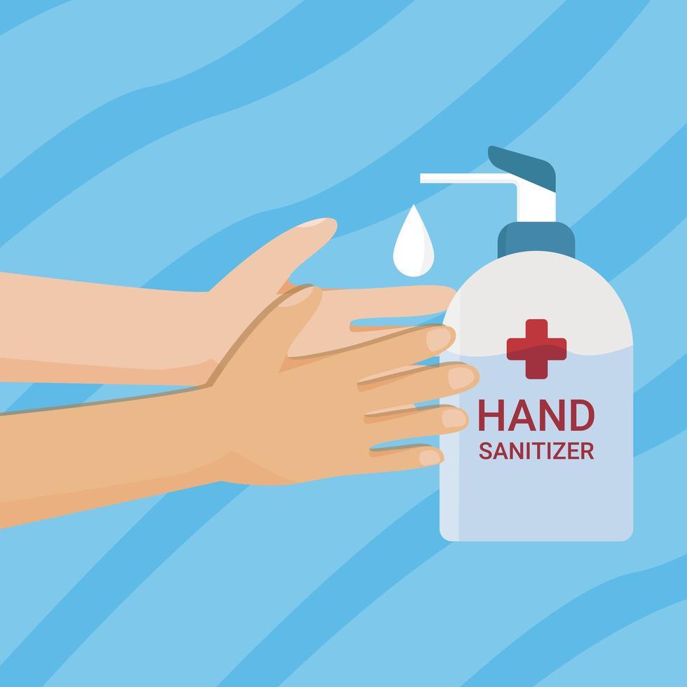 manos bombeando desinfectante para manos vector
