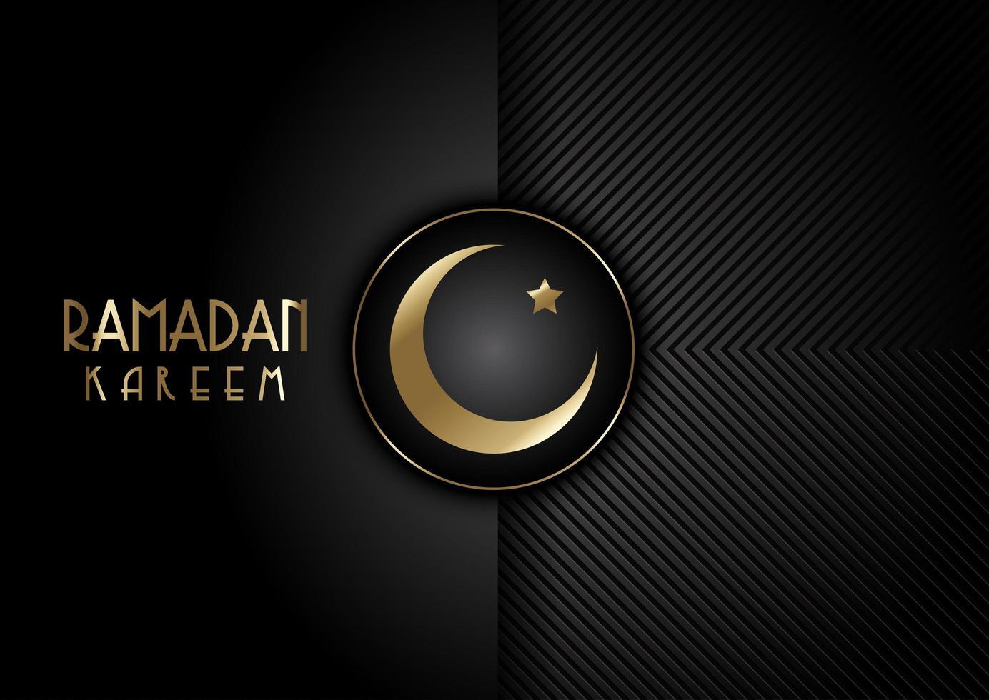 moderno design nero ramadan kareem elegante vettore