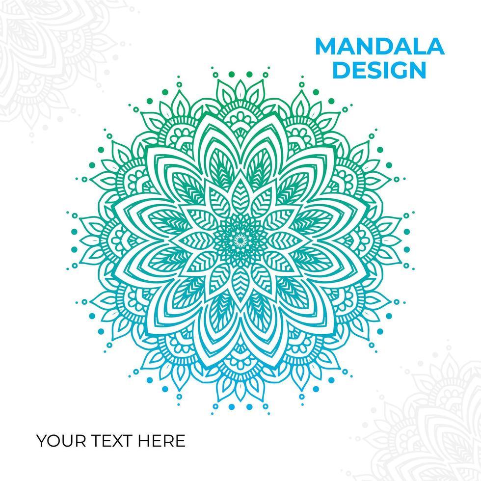 diseño de mandala adornado verde azul degradado vector