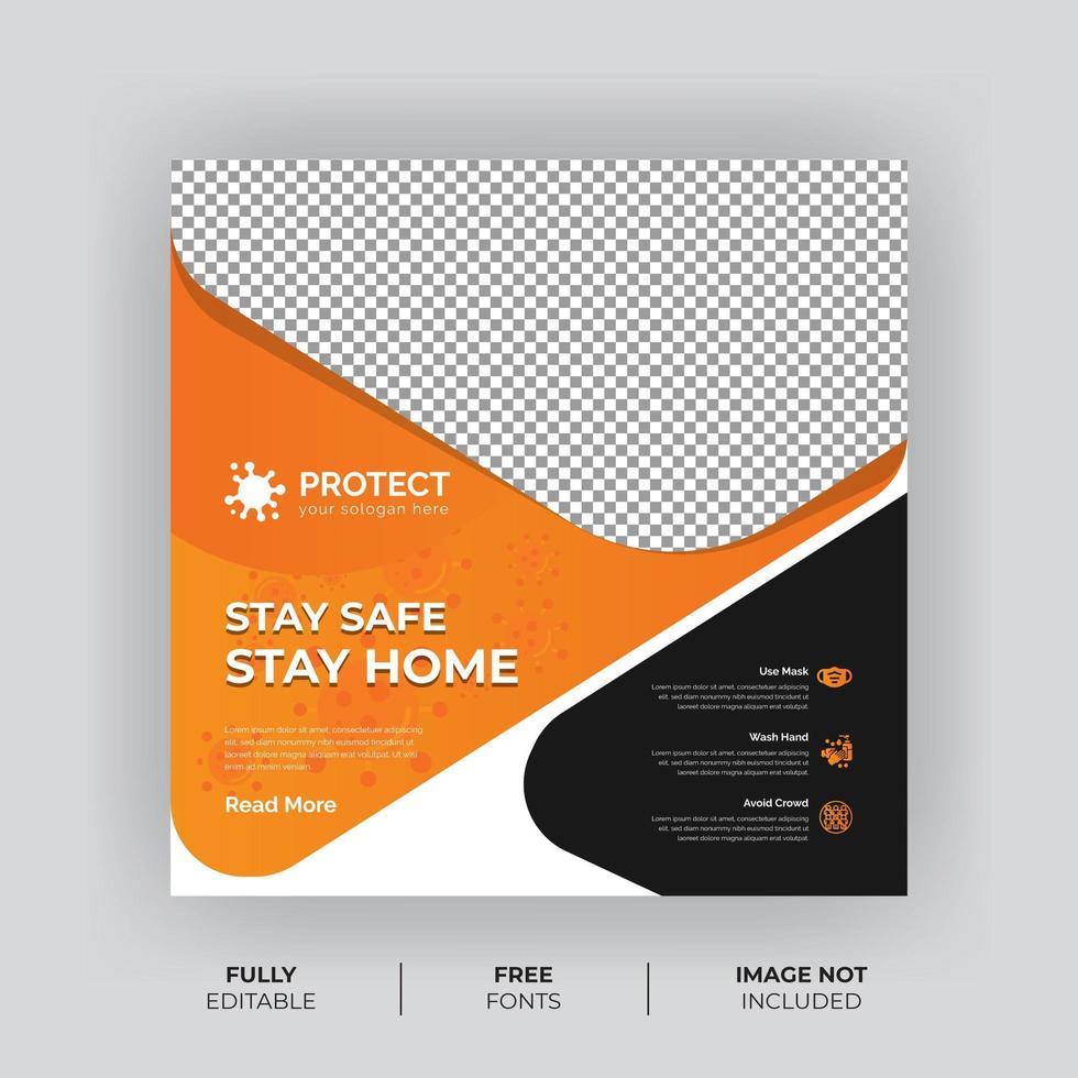 bannière de médias sociaux de prévention des virus gras orange et noir vecteur