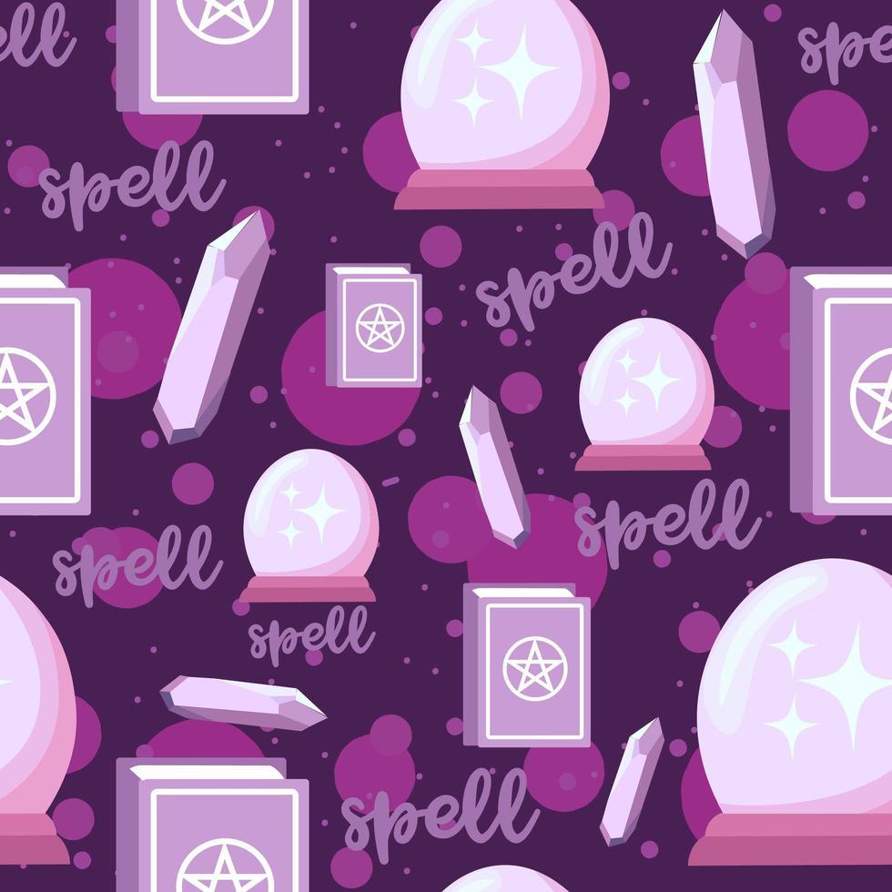 alquimia de patrones sin fisuras con libros de hechizos, cristales de amatista y globo mágico. vector