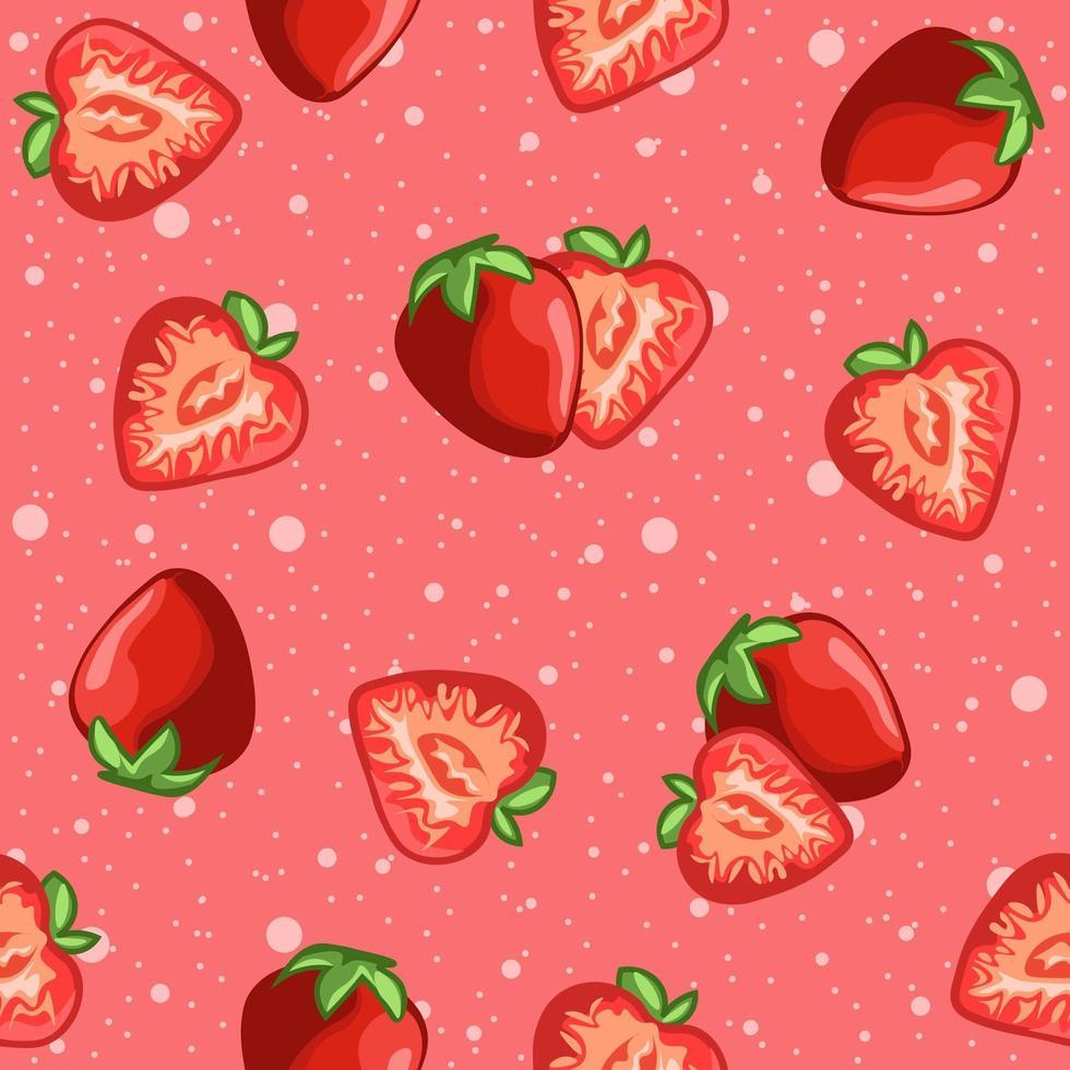 Rosa rojo de patrones sin fisuras de fresas y rodajas de frutas. vector