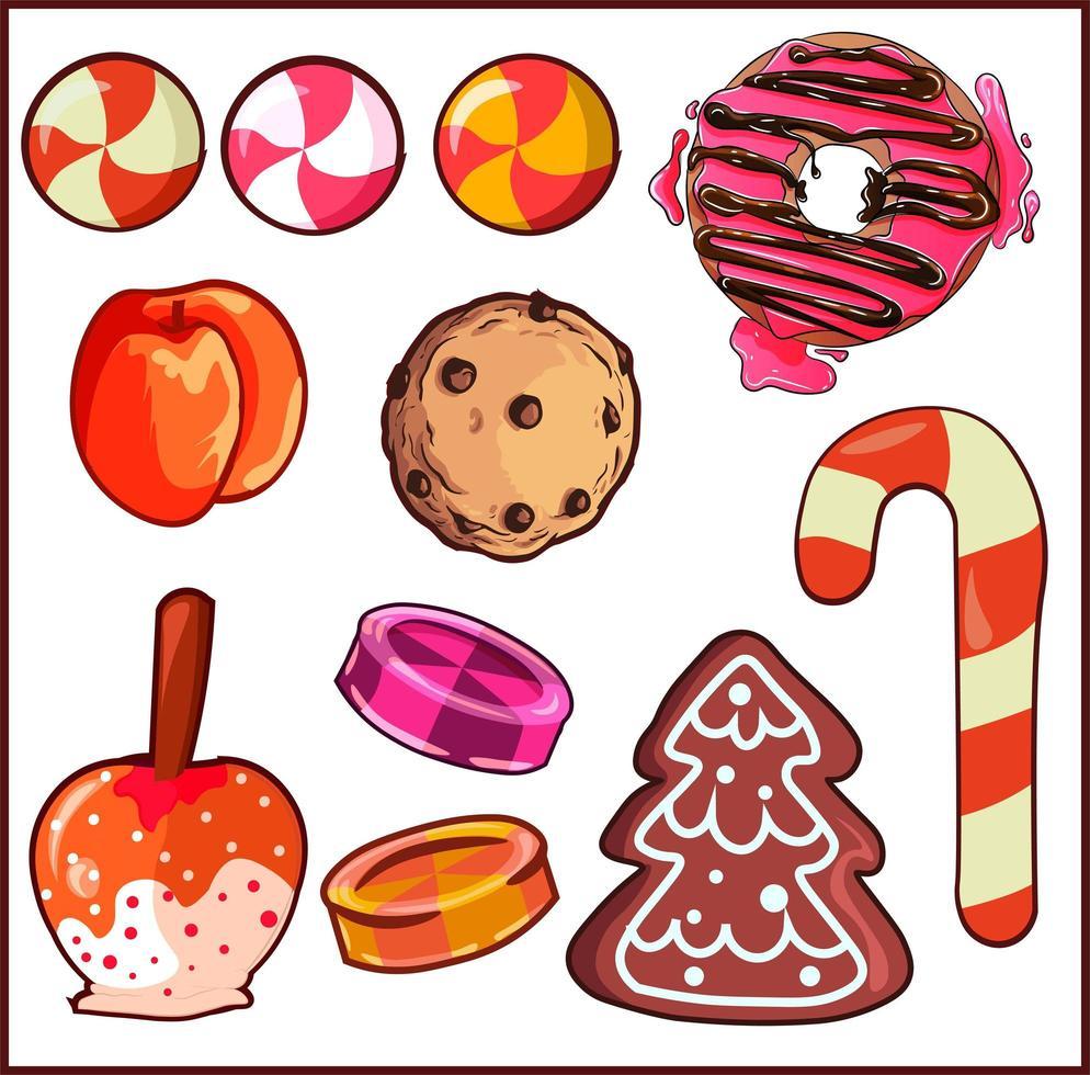 Design-Elemente verpacken mit verschiedenen Arten von Süßigkeiten und Desserts. vektor