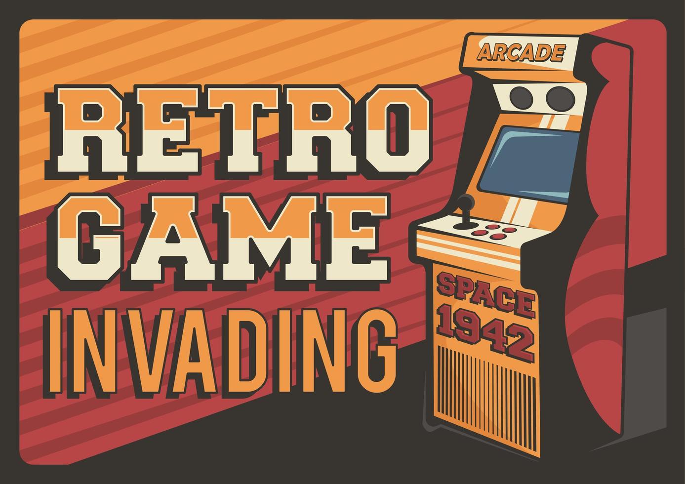 Retro Game Invading Poster vector