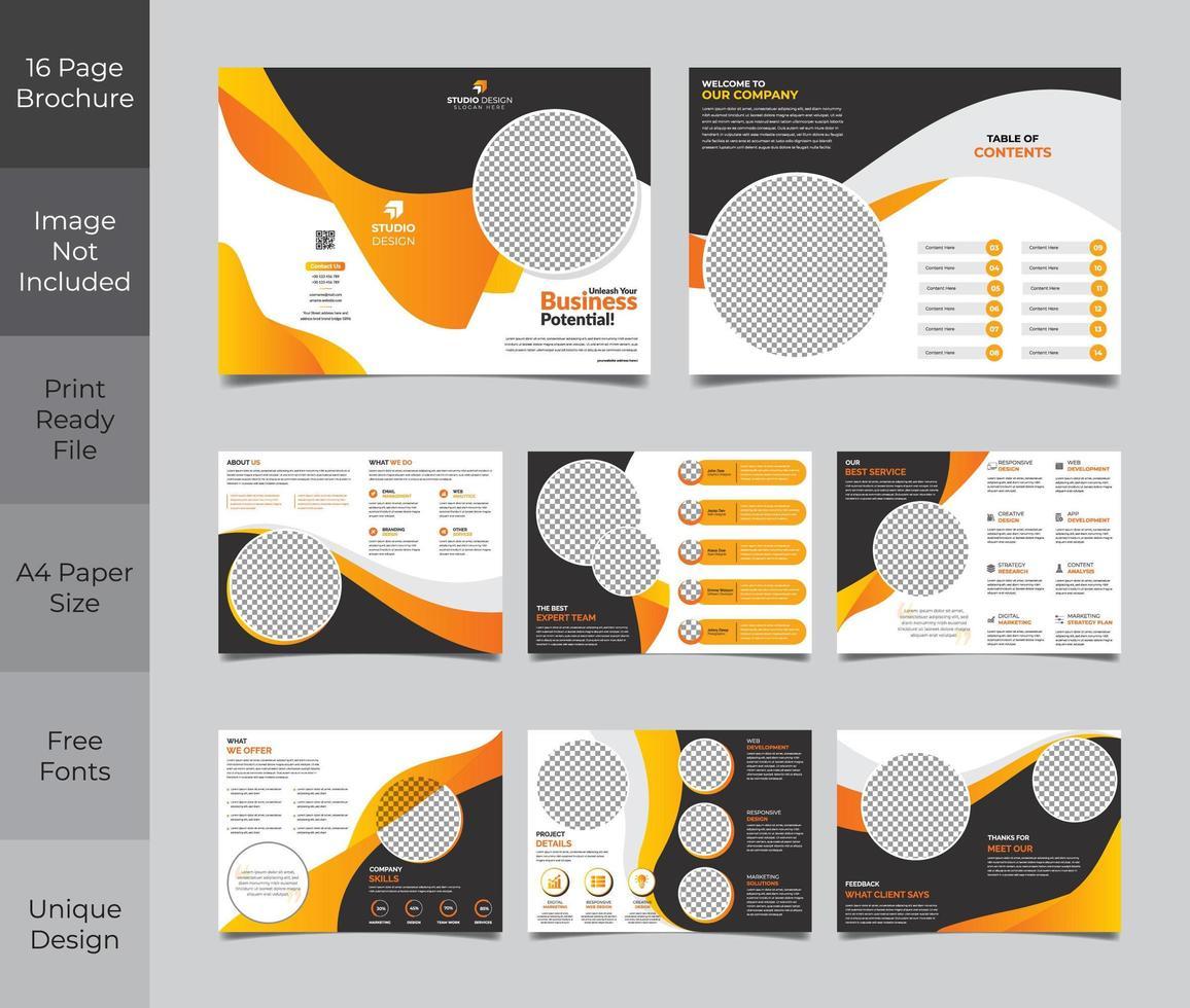 Design de modelo de folheto de 16 páginas em laranja e vetor