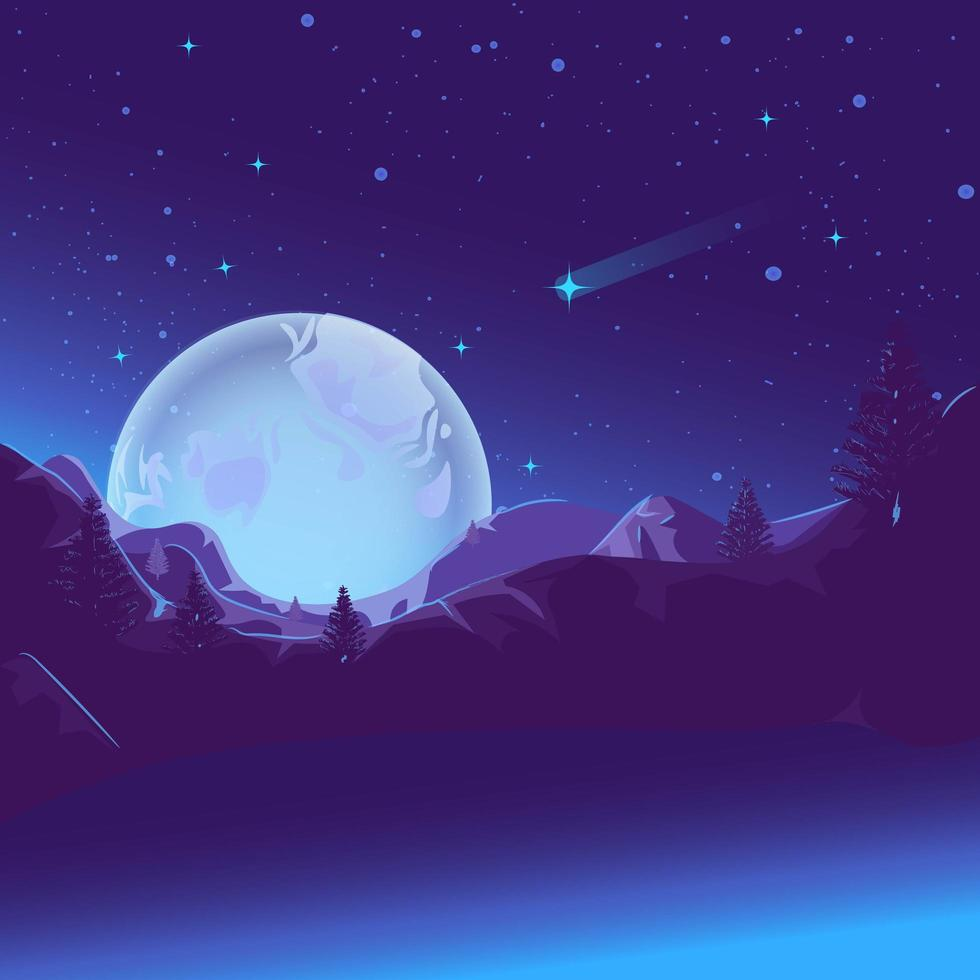 Mountain lake glowing under the light of the moon, fairytale illustration. vector