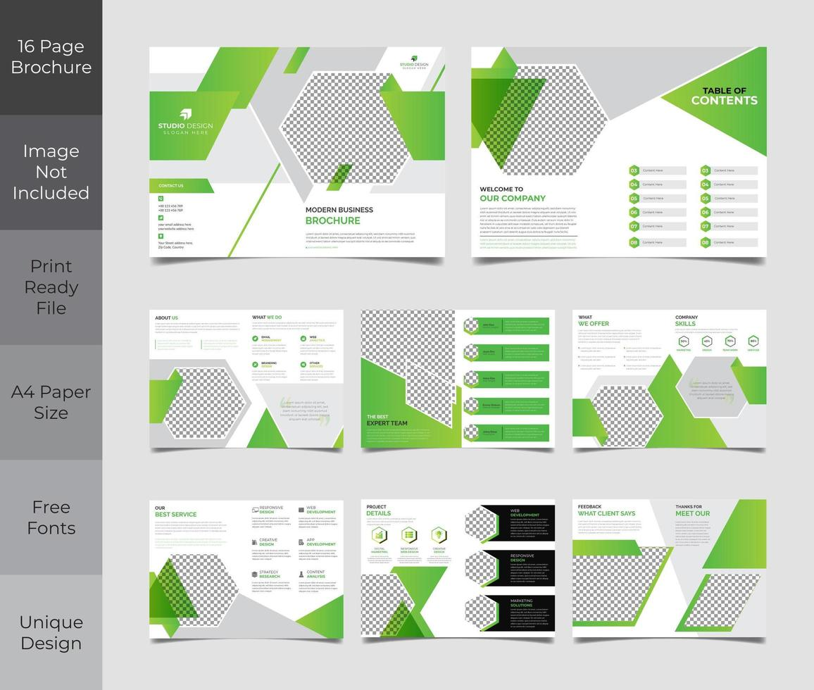 Design de modelo de folheto de 16 páginas vetor